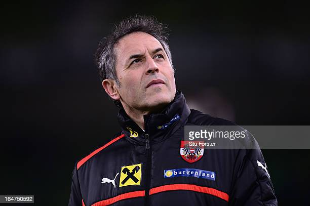 Austria manager Marcel Koller looks on before the FIFA 2014 World Cup Group C Qualifiying match between Republic of Ireland and Austria at Aviva...