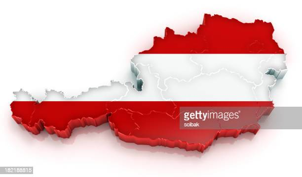 Austria map with flag
