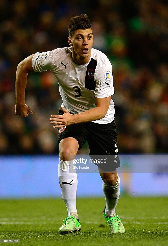 Austria player Aleksander Dragovic in action during the FIFA 2014 World Cup Group C Qualifiying match between Republic of Ireland and Austria at Aviva Stadium on March 26, 2013 in Dublin, Ireland.