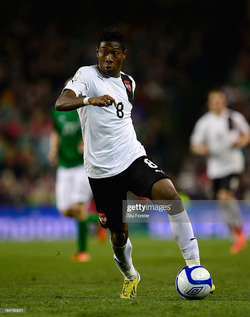 Austria player <a gi-track='captionPersonalityLinkClicked' href=/galleries/search?phrase=David+Alaba&family=editorial&specificpeople=5494608 ng-click='$event.stopPropagation()'>David Alaba</a> in action during the FIFA 2014 World Cup Group C Qualifiying match between Republic of Ireland and Austria at Aviva Stadium on March 26, 2013 in Dublin, Ireland.