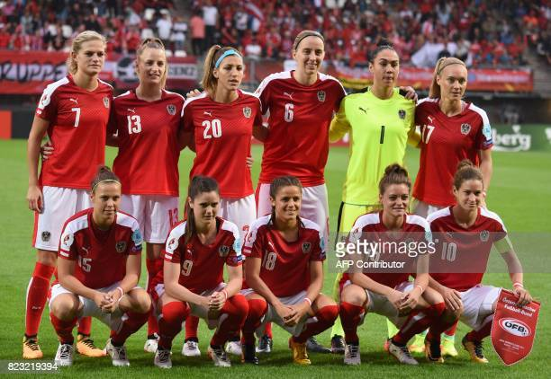 Austria players pose for a photograph prior to the UEFA Womens Euro 2017 football tournament match between Iceland and Austria at Sparta Stadium in...