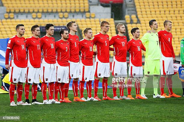 Austria players sing the national anthem during the FIFA U20 World Cup New Zealand 2015 Group B match between Austria and Argentina at Wellington...