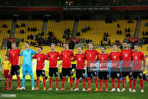 Austria players sing the national anthem during the Group B FIFA U20 World Cup New Zealand 2015 match between Ghana and Austria at Wellington...