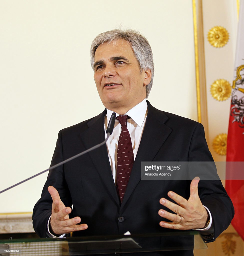 Austria Prime Minister Werner Faymann speaks during a press conference in Wien Austria on January 16 2014