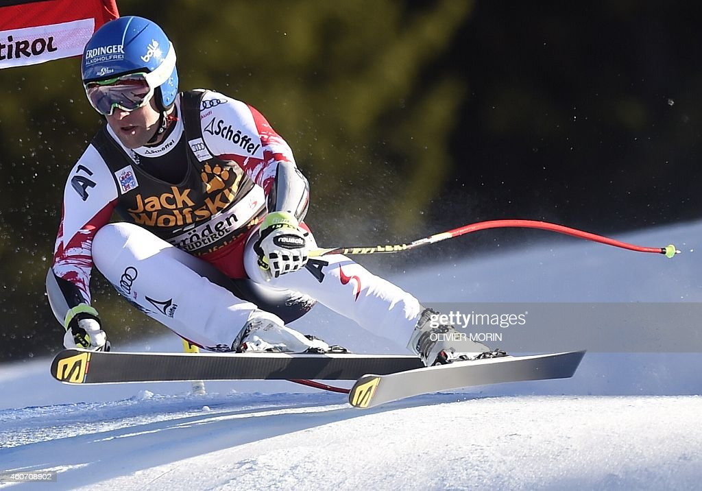 Austria Romed Baumann competes during the mens Super G at the FIS Alpine Skiing World Cup in Val Gardena on December 20 2014 AFP PHOTO / OLVIER MORIN