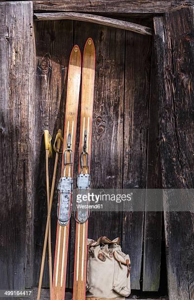 Austria, Salzburg State, Altenmarkt-Zauchensee, historic skis from Olympiade Oslo 1952