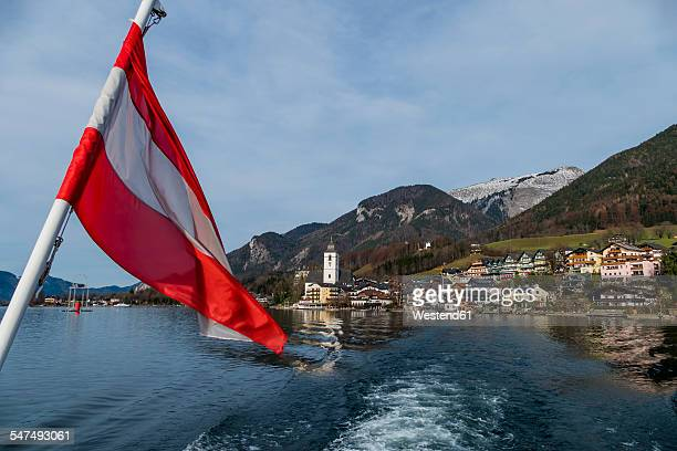 Austria, Salzburg State, St. Wolfgang at Wolfgangsee with ensign in the foreground