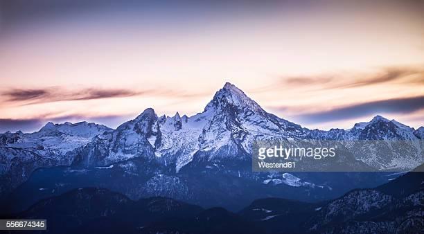 Austria, Salzburg State, View to Watzmann in the evening