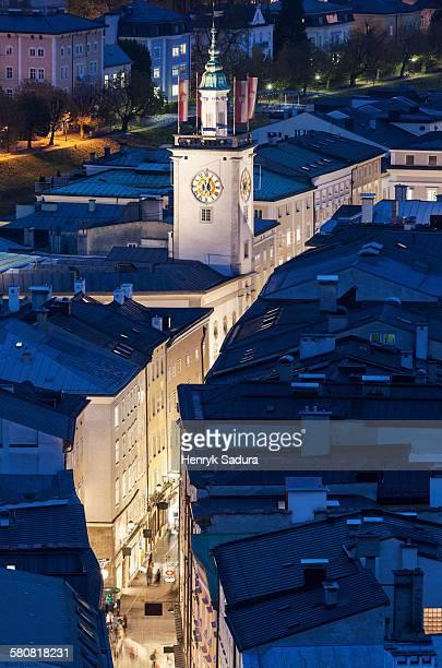 Austria, Salzburg, Town hall at night