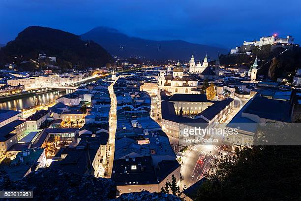 Austria, Salzburg, View of Salzburg Panorama at night