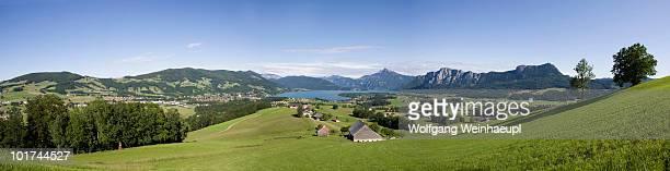 Austria, Salzkammergut, Lake Mondsee, Mount Schafberg in background