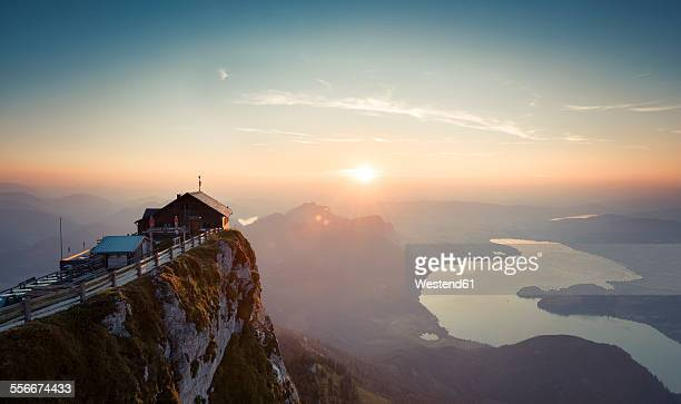 Austria, Salzkammergut, Schafberg, Mountain hut Himmelspforte at sunset