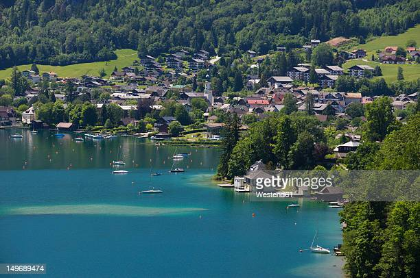 Austria, St. Gilgen, View of town with Wolfgangsee Lake