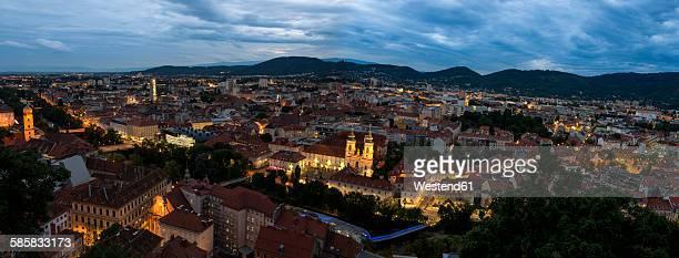Austria, Styria, Graz, Panorama in the evening