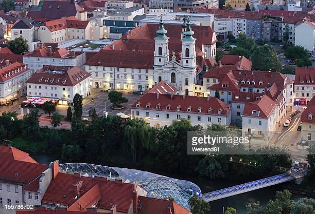 Austria, Styria, Graz, View of monastery and Parish Church