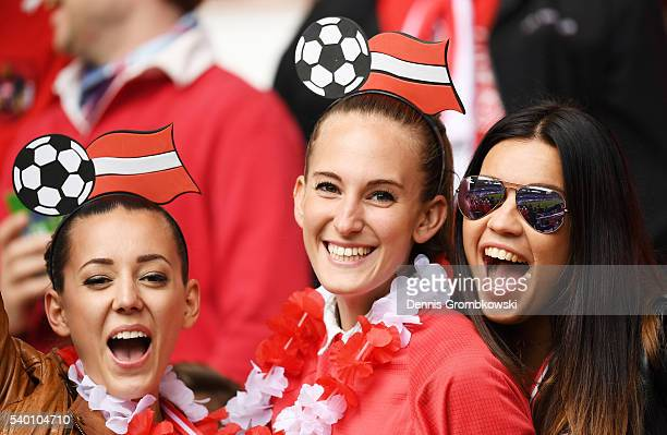 Austria supporters enjoy the atmosphere prior to the UEFA EURO 2016 Group F match between Austria and Hungary at Stade Matmut Atlantique on June 14...