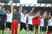Austria team players celebrate during the UEFA Euro 2016 qualifying round Group G football match at Otkritie stadium in Moscow Russia on June 14 2015