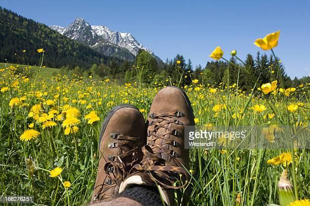 Austria, Tyrol, Kaisergebirge, Hiker relaxing on meadow, close-up