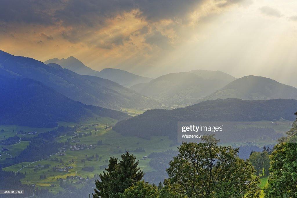 Austria, Tyrol, Kitzbuehel Alps, View from Hohe Salve to Brixen Valley near Hopfgarten