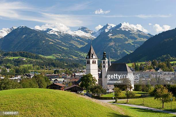 Austria, Tyrol, Kitzbuehel, View of town and church