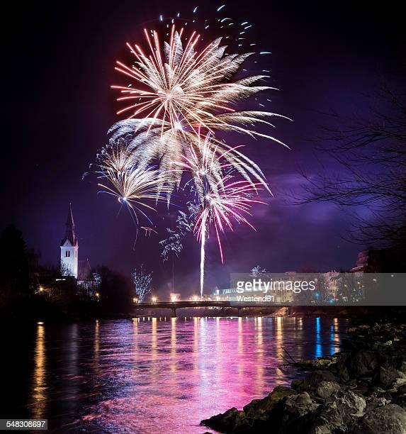Austria, Tyrol, Schwaz, New Years Eve fireworks