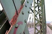 Austria Upper Austria Linz rusty railway bridge crossing the river Donau