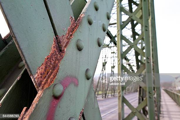 Austria Upper Austria Linz rusty railway bridge crossing the river Donau