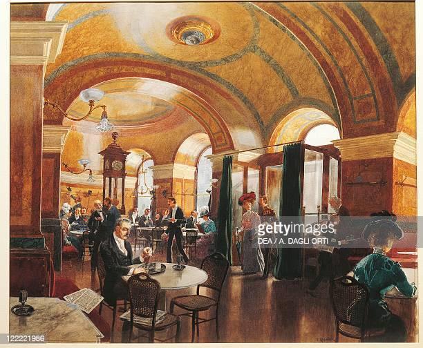 Austria Vienna 20th century Interior of a café Watercolor