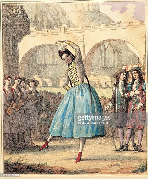 Austria Vienna ballerina Fanny Elssler performing the Cracovienne steps in La Gipsy by color engraving