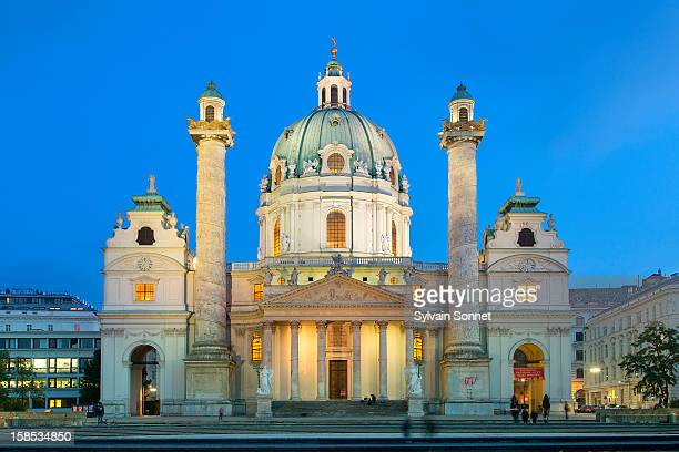 Austria, Vienna, Karlskirche illuminated at night