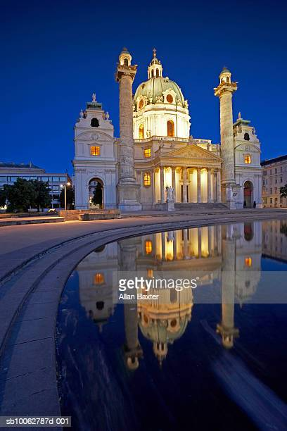 Austria, Vienna, Karlskirche with pool in foreground