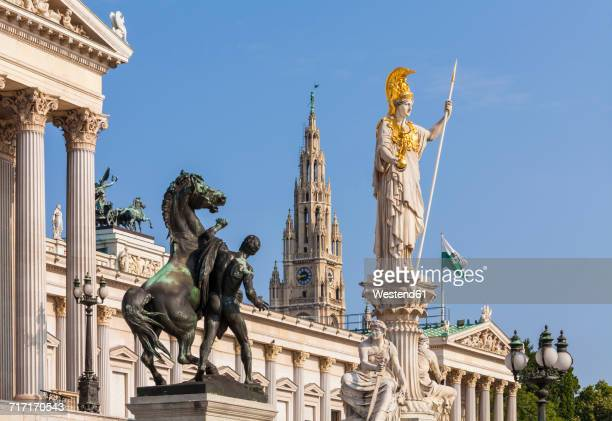 Austria, Vienna, parliament, Statue Pallas Athene, city hall in background