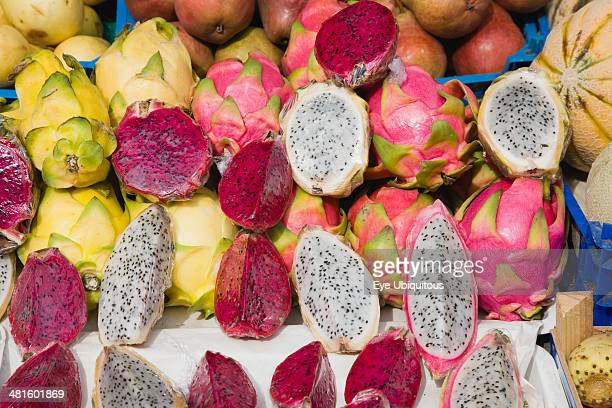Austria Vienna The Naschmarkt Dragon Fruit for sale on market stall Genus Hylocereus sweet pitayas