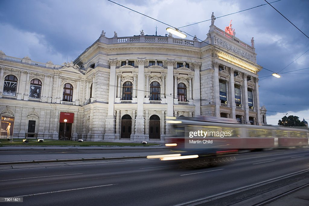 Austria, Vienna, tram in front of Burgtheater, (long exposure)