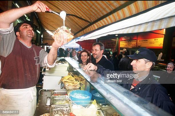 Turks in Vienna Nibbling market a doner kebab stall