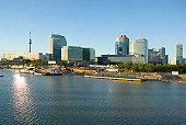 Austria, Vienna, Vienna international centre by river Danube