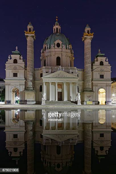 Austria, Vienna, view to St Charles Borromeo by night