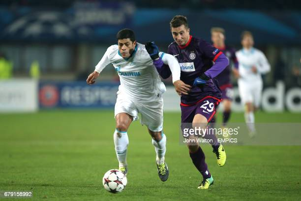 Austria Vienna's Markus Suttner and Zenit St Petersburg's Hulk battle for the ball