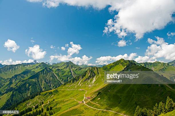 Austria, Vorarlberg, Kleinwalsertal, Allgaeu Alps, Panorama, Luechle Alp and Muttelbergkopf