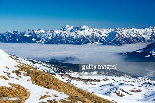 Austria, Vorarlberg, Little Walser Valley, View to Gottesacker plateau, Allgaeu Alps in the background