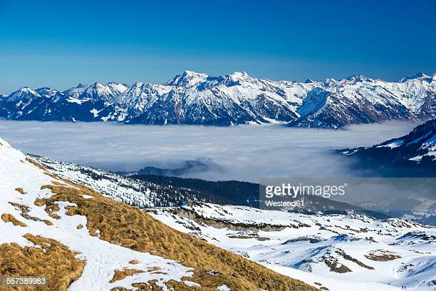 Austria, Vorarlberg, Little Walser Valley, View to Gottesacker plateau, Allgaeu Alps in the background