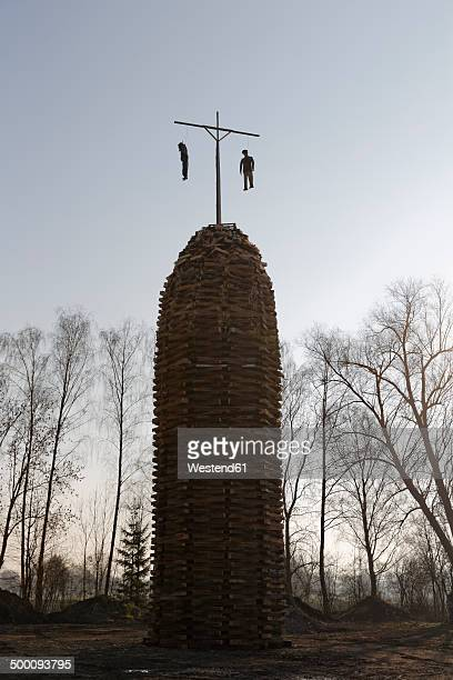 Austria, Vorarlberg, Rhine Valley, Lauterach, wood tower with witches for bonfire