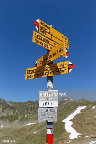Austria, Vorarlberg, Sign post at St Antonier Joch