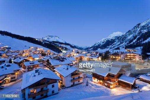 Austria, Vorarlberg, View of lech am arlberg at night