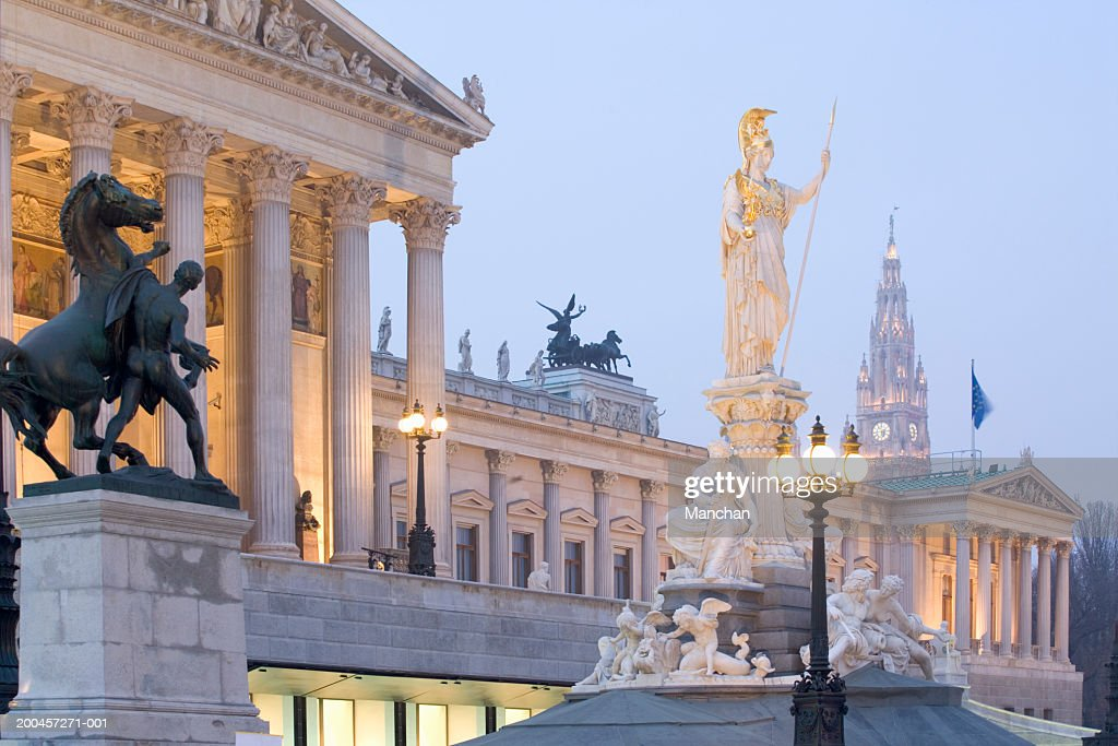 Austria, Wein, Vienna, Parliament building and Pallas Athene, dusk : Stock Photo
