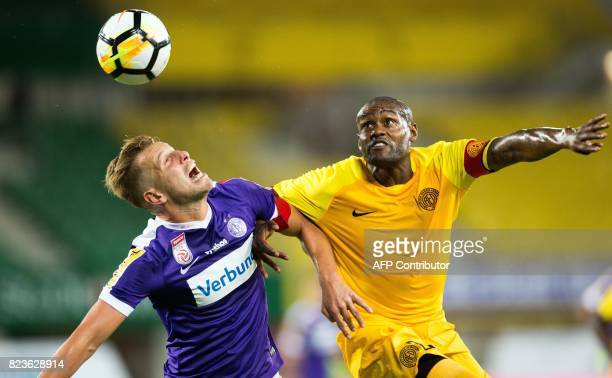 Austria Wien's Alexander Grunwald vies for the ball with Limassol's Marcos Airosa during a UEFA Europa League qualifying football match between FK...