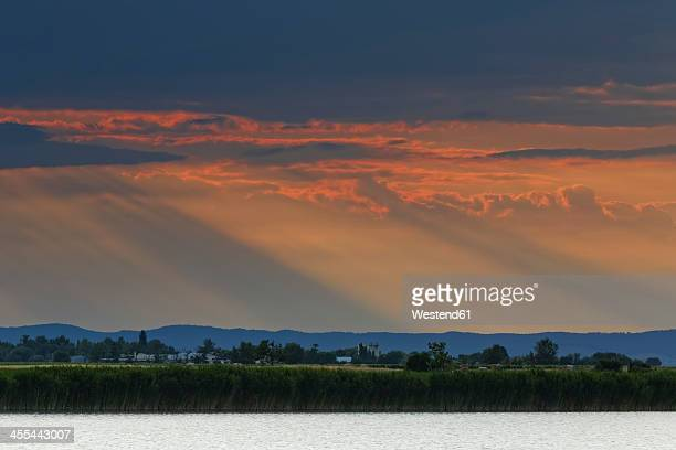 Austria,Burgenland, View of Neusiedler See Seewinkel National park at sunset