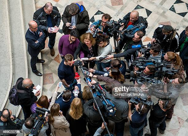 Austrian activist Max Schrems talks to journalists in the courthouse after officially filing a suit against Facebook in Vienna Austria on April 9...