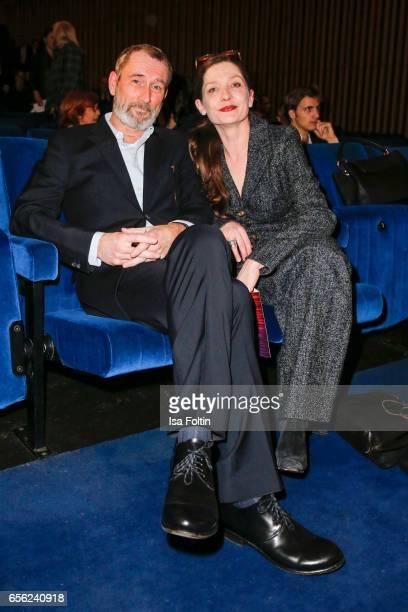 Austrian actor Heikko Deutschmann and his wife german actress Iris Boehm attend the Deutscher Hoerfilmpreis at Kino International on March 21 2017 in...
