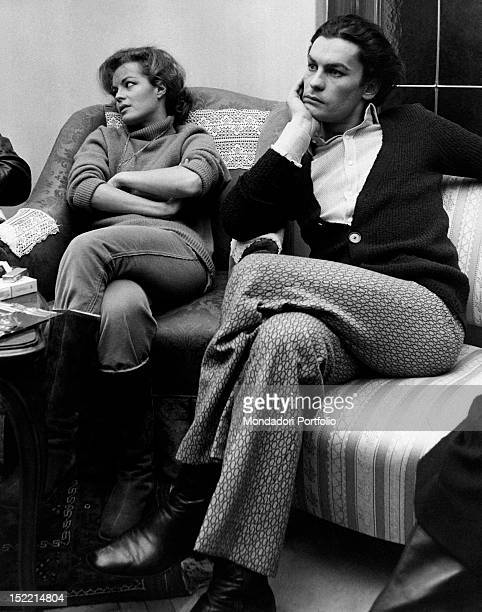 Austrian actor Helmut Berger and Austrianborn French actress Romy Schneider having a break during the shooting of the film 'Ludwig' Bad Ischl 1972